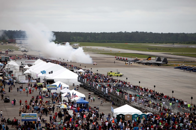 "Jet powered vehicles zip past a crowd at the 2016 Marine Corps Air Station Cherry Point Air Show – ""Celebrating 75 Years"" at MCAS Cherry Point, N.C., April 29, 2016.