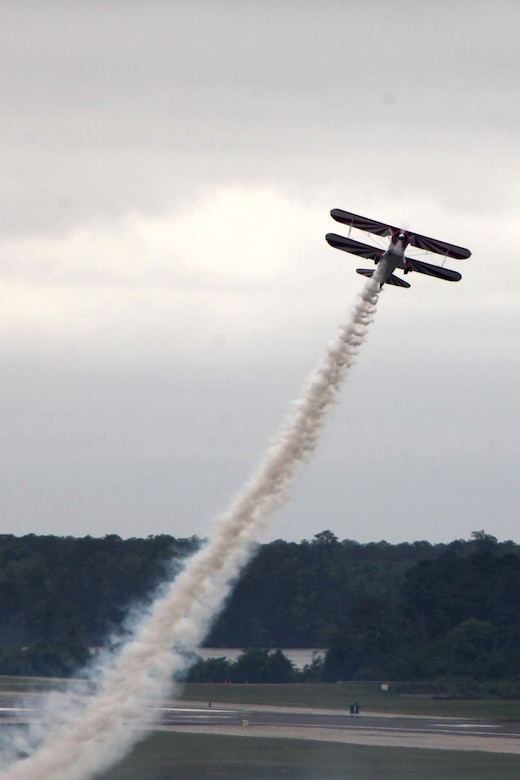 "The PT-17 Stearman displays its great power while conducting a demonstration at the 2016 MCAS Cherry Point Air Show – ""Celebrating 75 Years"" at Marine Corps Air Station Cherry Point, N.C., April 30, 2016.