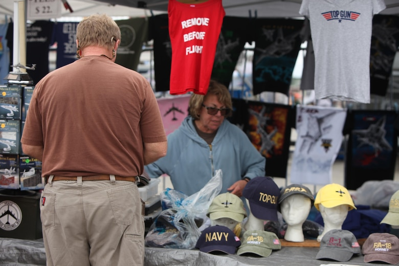 "Vendors sell products and goods at tents and stands at the 2016 MCAS Cherry Point Air Show – ""Celebrating 75 Years"" at Marine Corps Air Station Cherry Point, N.C., April 29, 30 and May 1 2016. This year's air show celebrated MCAS Cherry Point and 2nd Marine Aircraft Wing's 75th anniversaries and featured 40 static displays, 17 aerial performers and a concert."
