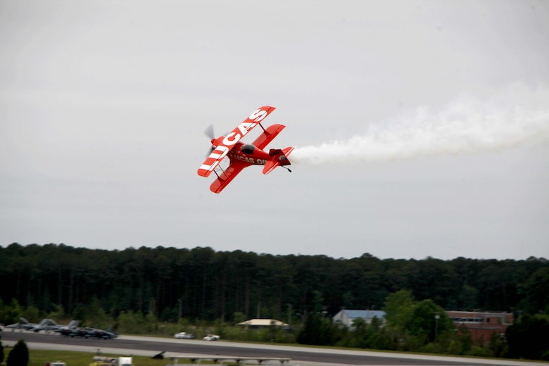 "The Lucas Oil Aerobatics S1-11B team performs nail-biting performance at the 2016 MCAS Cherry Point Air Show – ""Celebrating 75 Years"" at Marine Corps Air Station Cherry Point, N.C., April 30, 2016.