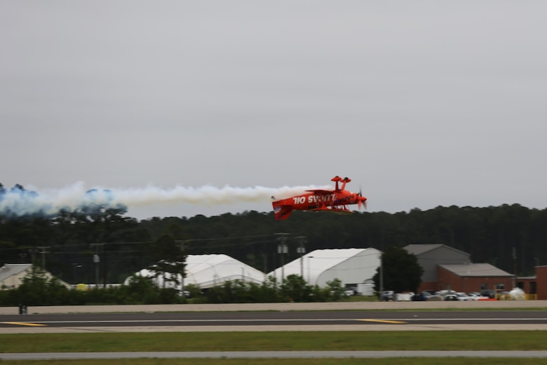 "The Lucas Oil Aerobatics S1-11B team performs a nail-biting performance at the2016 Marine Corps Air Station Cherry Point Air Show – ""Celebrating 75 Years"" at MCAS Cherry Point, N.C., April 30, 2016. Michael Wiskus pilots the S1-11B ""Pitts Special"" is powered by 310 horsepower performed various solo aerobatics routines. This year's air show celebrated MCAS Cherry Point and 2nd Marine Aircraft Wing's 75th anniversaries and featured 40 static displays, 17 aerial performers and a concert. (U.S. Marine Corps photo by Lance Cpl. Mackenzie Gibson/ Released)"