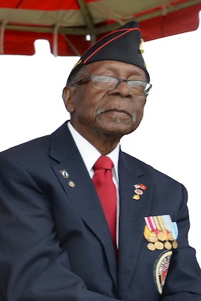 Henry L. Jackson, one of the original Montford Point Marines,  is a World War II veteran a retired U.S. Air Force master sergeant and a Congressional Gold Medal recipient. He was one of the 20,000 African-American Marines to attend basic training at Montford Point, North Carolina, on a mandate from then-President Franklin D. Roosevelt, during the period between 1942 and 1949. An icon at Marine Corps Logistics Base Albany, Jackson attends many of the installation's events, tells the story of his earlier Marine Corps career and frequently gives advice to young Marines as well. He, recently, met one such Marine, Sgt. Frederick Graham, heavy equipment engineer maintenance chief, Organic Maintenance Unit, Marine Corps Logistics Command. Graham, who was recently selected as LOGCOM's Noncommissioned Officer of the Quarter, listened as Jackson shared some of  his experiences as a Montford Point Marine seven decades earlier.