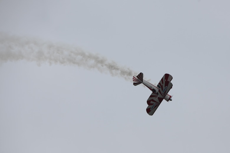 "The PT-17 Stearman displays its great power while conducting an aerial demonstration at the 2016 Marine Corps Air Station Cherry Point Air Show – ""Celebrating 75 Years"" at MCAS Cherry Point, N.C., April 30, 2016.