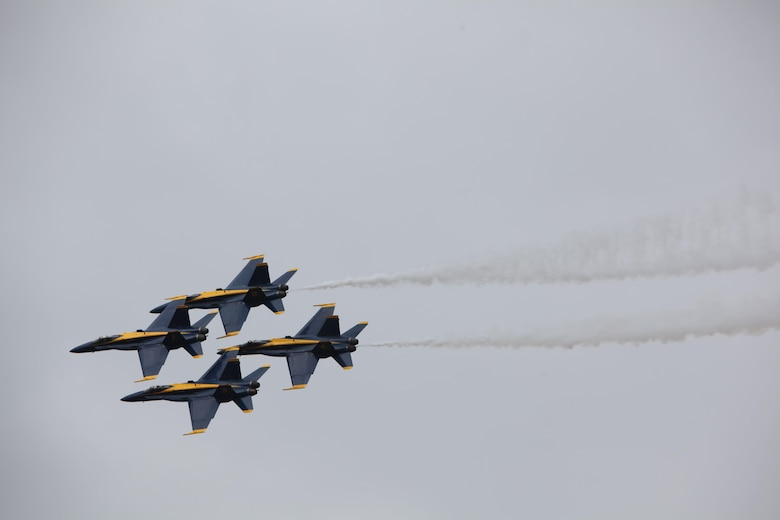 "The U.S. Navy Blue Angels soar through the sky at the 2016 Marine Corps Air Station Cherry Point Air Show -- ""Celebrating 75 Years"" at MCAS Cherry Point, N.C., April 30, 2016. Blue Angels showcase the pride and professionalism of the Navy and the Marine Corps by inspiring a culture of excellence and service to country through flight demonstrations and community outreach. This year's air show celebrated MCAS Cherry Point and 2nd Marine Aircraft Wing's 75th anniversary and featured 40 static displays, 17 aerial performers, as well as a concert."
