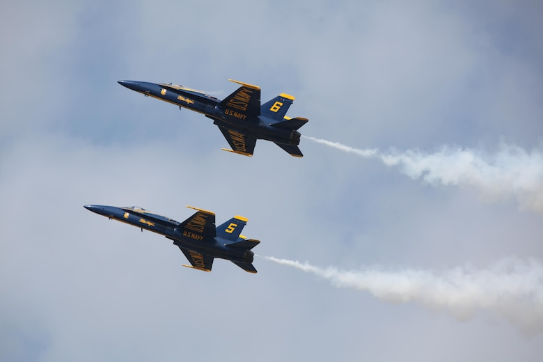 "The U.S. Navy Blue Angels fly through the sky at the 2016 Marine Corps Air Station Cherry Point Air Show -- ""Celebrating 75 Years"" at MCAS Cherry Point, N.C., April 30, 2016. Blue Angels showcase the pride and professionalism of the Navy and the Marine Corps by inspiring a culture of excellence and service to country through flight demonstrations and community outreach. This year's air show celebrated MCAS Cherry Point and 2nd Marine Aircraft Wing's 75th anniversary and featured 40 static displays, 17 aerial performers, as well as a concert."
