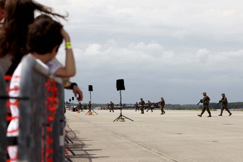 "The Marine Air-Ground Task Force performs high speed demo on the flight line at the 2016 MCAS Cherry Point Air Show – ""Celebrating 75 Years"" at Marine Corps Air Station Cherry Point, N.C., April 29, 2016.