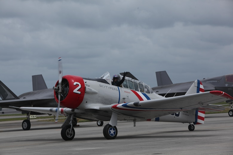 "A member of the GEICO Skytypers cruises the flight line after an aerbatic performance at the 2016 Marine Corps Air Station Cherry Point Air Show – ""Celebrating 75 Years"" at MCAS Cherry Point, N.C., May 1, 2016.