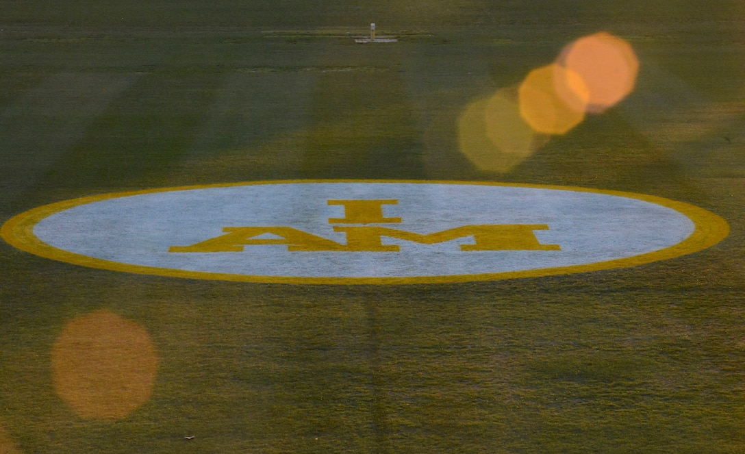 The Invictus Games logo marks the landing zone for the arrival of the Invictus flag at the Invictus Games 2016 opening ceremony in Orlando, Fla., May 8, 2016. (U.S. Air Force photo/Staff Sgt. Carlin Leslie)