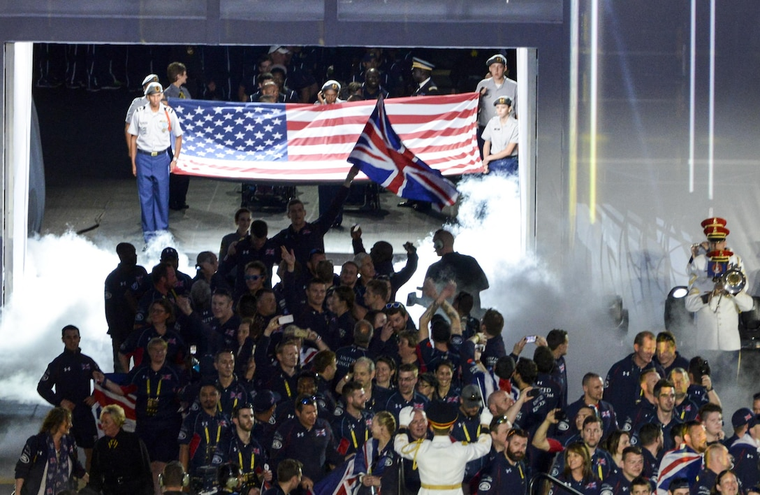 Team U.K. enters the opening ceremony for Invictus Games 2016 at the ESPN Wide World of Sports Complex in Orlando, Fla., May 8, 2016. The British team consists of 110 wounded warrior athletes. (U.S. Air Force photo/Senior Master Sgt. Kevin Wallace)
