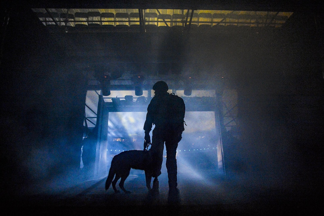 Air Force Staff Sgt. August O'Niell and his service dog, Kai, prepare to enter the stadium for the opening ceremony of the Invictus Games 2016 at ESPN Wide World of Sports in Orlando, Fla., May 8, 2016. O'Niell delivered the Invictus Games flag after hoisting down from a HH-60G Pave Hawk. Air Force photo by Tech. Sgt. Joshua L. DeMotts