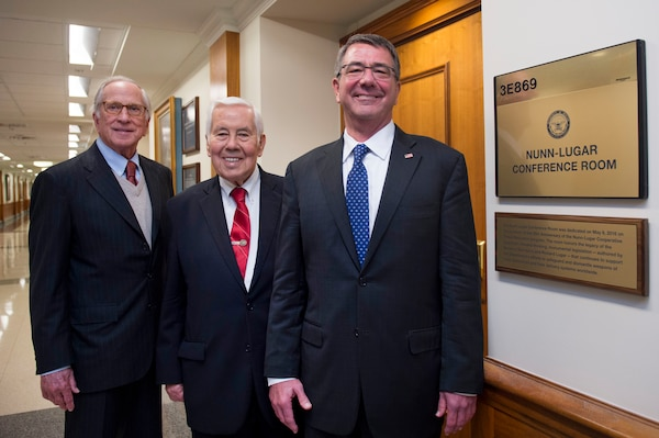 Defense Secretary Ash Carter, right, stands former U.S. Sens. Sam Nunn of Georgia, left, and Richard Lugar of Indiana after a ceremony commemorating the 25th Anniversary of the Nunn-Lugar Cooperative Threat Reduction Program at the Pentagon, May 9, 2016. DoD photo by Air Force Senior Master Sgt. Adrian Cadiz