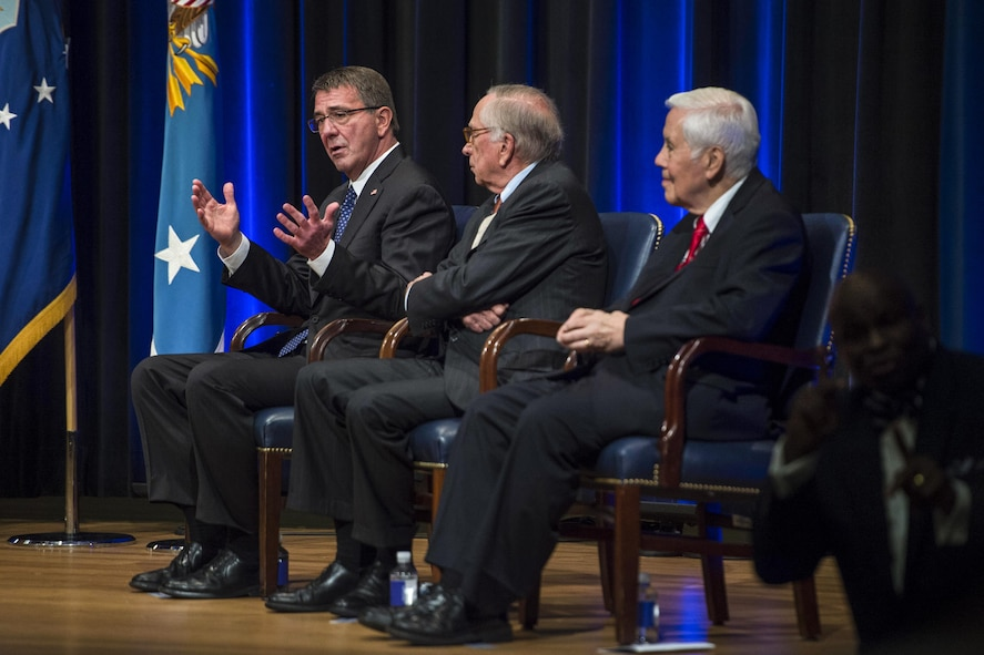 Defense Secretary Ash Carter, left, provides remarks as former U.S. Sens. Sam Nunn of Georgia, center, and Richard Lugan of Indiana look on during a ceremony commemorating the 25th Anniversary of the Nunn-Lugar Cooperative Threat Reduction Program at the Pentagon, May 9, 2016. DoD photo by Senior Master Sgt. Adrian Cadiz