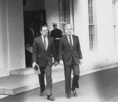 Then-U.S. Sens. Sam Nunn, left, and Richard Lugar leave the White House in 1991 after briefing then-President George H.W. Bush on their cooperative threat reduction legislation. U.S. Senate photo