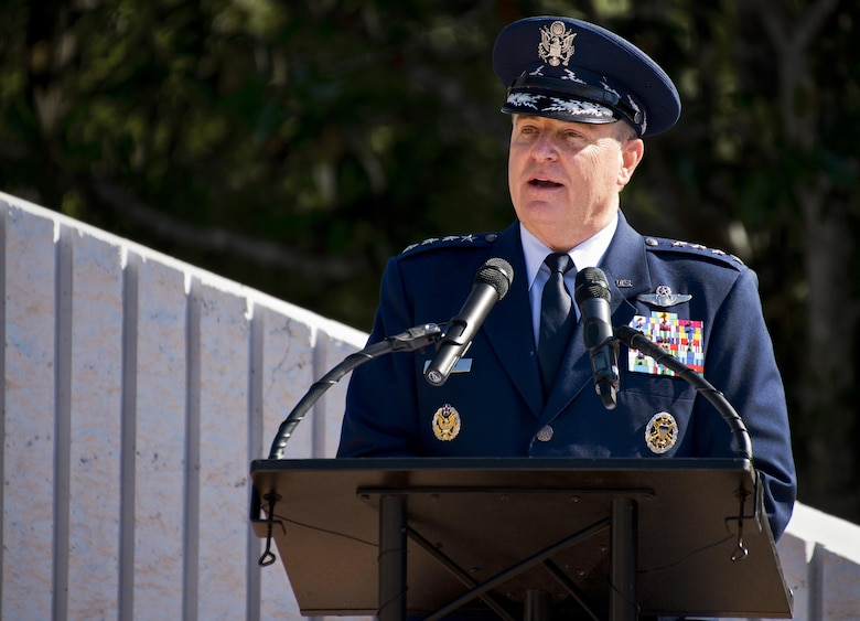 Air Force Chief of Staff Gen. Mark A. Welsh III speaks to the crowd of approximately 500 people at the 47th annual EOD Memorial Service at the Kauffman EOD Training Complex on Eglin Air Force Base, Fla., May 7, 2016. Names of recent and past fallen EOD technicians are added to the memorial wall each year. The Army, Marines and Navy added six new names this year. The total now stands at 320. (U.S. Air Force photo/Samuel King Jr.)