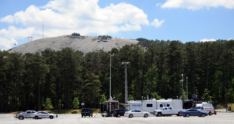 The 94th Airlift Wing Mobile Communications Vehicle is positioned with other emergency response vehicles during the 2016 Statewide Mobile Communication Vehicle Functional Field Exercise, held at Stone Mountain, Ga., May 3-6. The 94th Emergency Management staff and 94th Communications Squadron participated in the exercise, which was designed to test on-the-scene communication capability between the federal, state, and local emergency response organizations that participated. (U.S. Air Force photo/ Staff Sgt. Alan Abernethy)