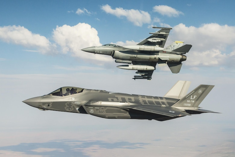 F-16s and F-35s from the 56th Fighter Wing fly side by side during a large force exercise April 18-29 at Luke Air Force Base, Arizona. The LFE is the culmination of eight months of training integrating different platforms from different bases utilizing air to air and air to surface tactics.