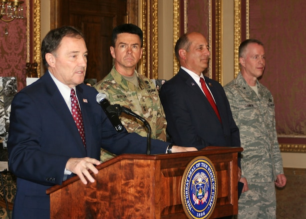 Utah Governor Gary Herbert, Maj. Gen. Jefferson Burton, Utah National Guard