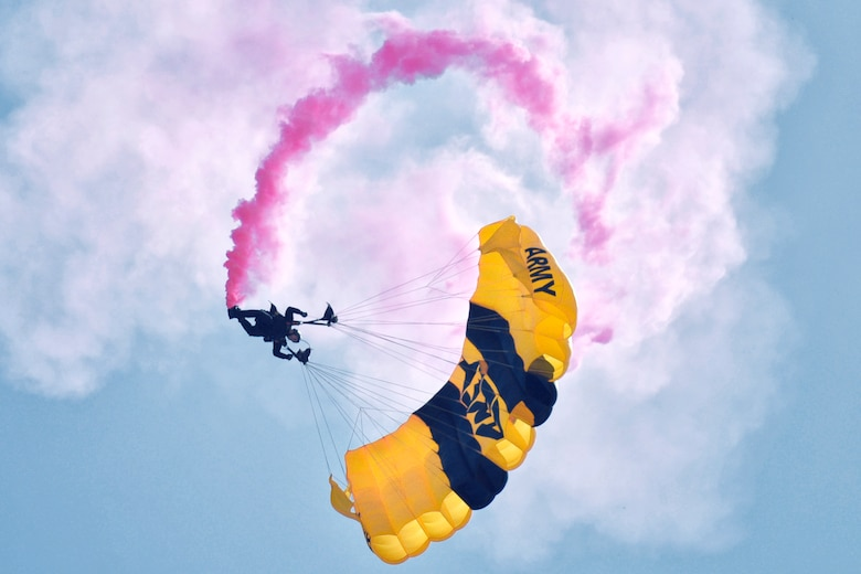 A member of the U.S. Army Golden Knights parachutes towards the ground during the 2016 Friendship Day at Marine Corps Air Station Iwakuni, Japan, May 5, 2016. The Golden Knights is a demonstration and competition parachute team who travel throughout the United States and overseas locations. (U.S. Air Force photo by Senior Airman David Owsianka/Released)