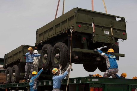 SENDAI, Japan – Japanese embarkation contractors unload cargo for Artillery Relocation Training Program 16-1 on May 9, 2016. ARTP is a Japan-funded, routine training exercise that allows Marines with 3rd Battalion, 12th Marine Regiment, 3rd Marine Division, III Marine Expeditionary Force based out of Camp Hansen, Okinawa, Japan, to conduct live-fire training.