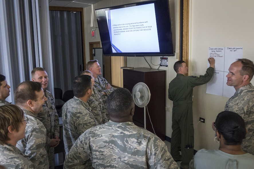 Students attending Green Dot leadership training brainstorm ideas of how to intervene in a scenario April 19, 2016, at Mountain Home Air Force Base, Idaho. The training encourages students to think creatively to solve problems that might make them uncomfortable. (U.S. Air Force photo by Tech. Sgt. Samuel Morse/Released)