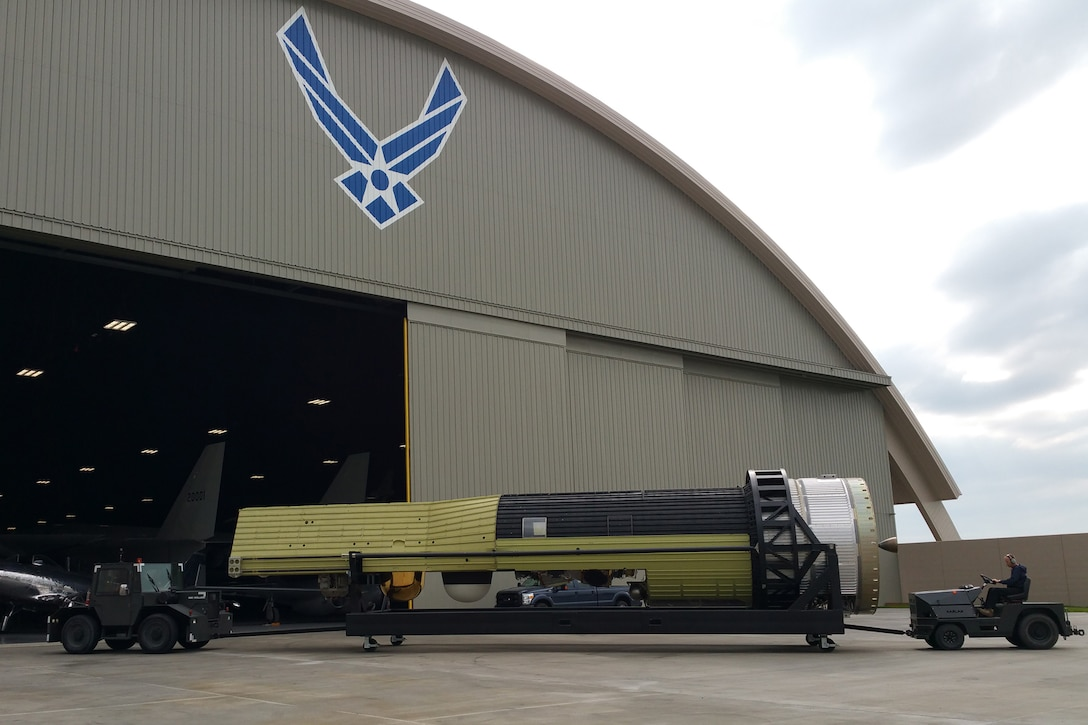 DAYTON, Ohio -- The HEXAGON KH-9 Reconnaissance Satellite being moved into the fourth building at the National Museum of the U.S. Air Force on May 10, 2016. (U.S. Air Force Photo)