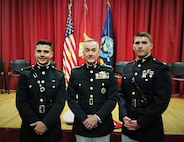 General Joseph Dunford (center), Chairman of the Joint Chiefs of Staff, stands with Capt. Jacob Nihart, the Officer Selection Officer of OST Portsmouth, New Hampshire, and  2nd Lt. Nicholas Nevers following the latter's graduation of the Maine Maritime Academy, May 7, 2016. Nevers became a Marine Corps officer through the Platoon Leader's Course where he attended Marine officer training during his college summers and commissioned during his graduation. Dunford was the guest speaker and commissioning officer of the graduation as his niece graduated and commissioned into the Navy.