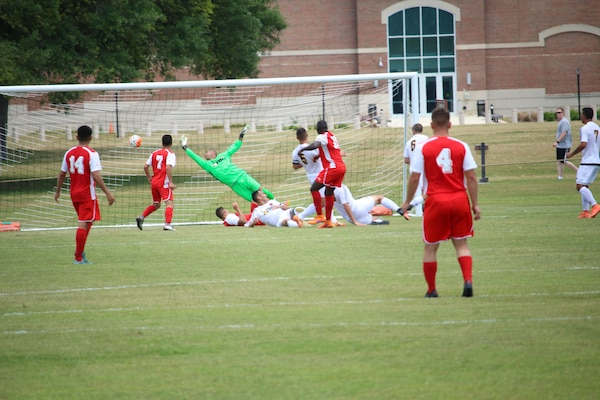 The Marine Corps scores to defeat Army 1-0 in the 2016 Armed Forces Men's Soccer Championship at Fort Benning, Ga. The 2016 Championship is held from 6 to 14 May featuring teams from the Army, Marine Corps, Navy and Air Force.  Coast Guard personnel are competing on the Navy team.
