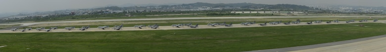"A-10 Thunderbolt II and F-16 Fighting Falcon fighter aircraft perform an 'Elephant Walk' on the runway this week during Exercise Beverly Herd 16-01 at Osan Air Base, Republic of Korea. The Elephant Walk was a demonstration of U.S. Air Force capabilities and strength and showcases the wing's ability to generate combat airpower in an expedient manner in order to respond to simulated contingency operations. The A-10 Thunderbolt II aircraft are the 25th Fighter Squadron ""Draggins"" and the F-16 Fighting Falcon aircraft are the 36th Fighter Squadron ""Friends"" from the 51st Fighter Wing, Osan AB, ROK; the additional F-16 aircraft are the 179th Fighter Squadron ""Bulldogs"" from the 148th Fighter Wing out of Duluth Air National Guard Base, Minnesota. (U.S. Air Force photo by Senior Airman Victor J. Caputo/Released)"