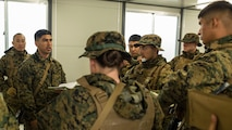 Sgt. Jesus Alvarado with Marine Wing Support Squadron 171 briefs his Marines in preparation for exercise Thunder Horse 16.2 at the Japan Ground Self-Defense Force's Haramura Maneuver Area in Hiroshima, Japan, May 9, 2016. The squadron plans to conduct various drills pertaining to aviation ground support forces, aircraft salvage and recovery, convoys, direct refueling, recovery and general engineering operations, establishing a tactical motor pool, providing air operations and planning expeditionary fire rescue services. MWSS-171 conducts exercises such as this several times a year in order to train all the Marines within the squadron, enhance their technical skills, field experience and military occupational specialty capability.