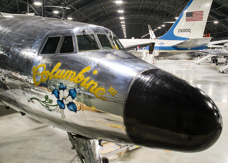 "DAYTON, Ohio -- Lockheed VC-121E ""Columbine III"" in the Presidential Gallery at the National Museum of the United States Air Force. (U.S. Air Force photo by Ken LaRock)"