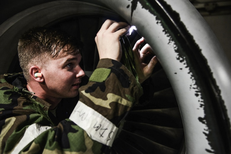 Staff Sgt. Joshua Anderson, 51st Aircraft Maintenance Squadron maintainer, inspects an A-10 Thunderbolt II after a training mission during Exercise Beverly Herd 16-01 at Osan Air Base, Republic of Korea, May 10, 2016. Post-flight inspections are necessary after every flight to ensure the aircraft is properly maintained for future flights. BH 16-01 is a week-long readiness exercise for the 51st Fighter Wing that includes a plethora of scenarios (U.S. Air Force photo by Tech. Sgt. Travis Edwards/Released)