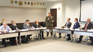 NDU President Major General Frederick M. Padilla, USMC, welcomes the NATO STC and member state representatives to CTNSP.