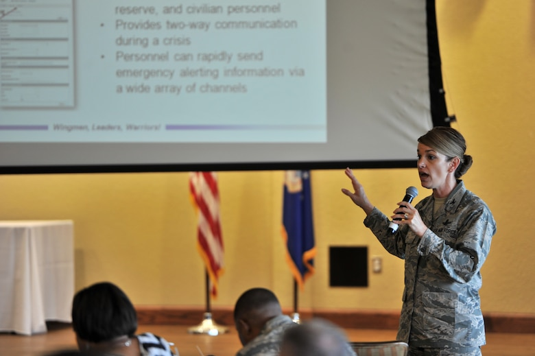 Col. Michele Edmondson, 81st Training Wing commander, discusses the importance of the AtHoc Emergency Notification System at a town hall forum in the Bay Breeze Event Center ballroom, May 3, 2016, Keesler Air Force Base, Miss. Edmondson hosted the forum to discuss current base events, the upcoming hurricane season and fielded a Q-and-A session with attendees. (U.S. Air Force photo by Senior Airman Duncan McElroy)