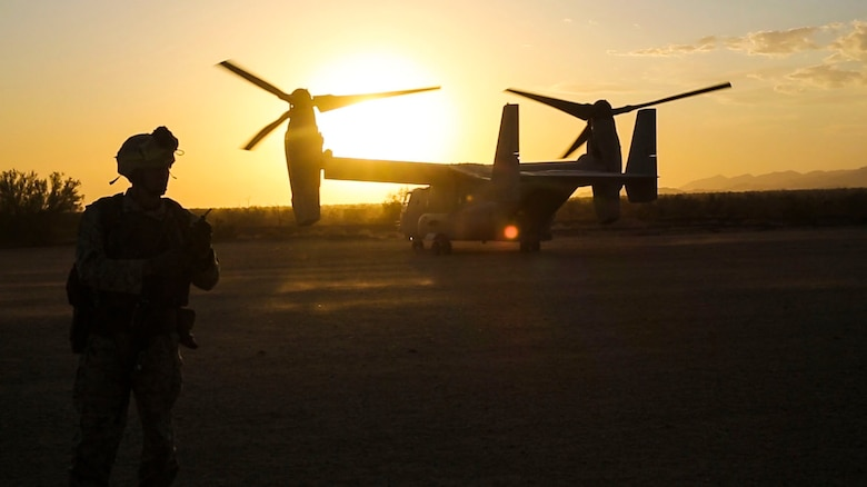 A Marine from 1st Marine Division participates in a Tactical Recovery of Aircraft and Personnel mission with Marine Medium Tiltrotor Squadron (VMM) 364 during a Marine Air-Ground Task Force Integration Exercise in El Centro, Calif., April 28. As part of Marine Aircraft Group 39's new integration effort, they conduct integration exercises quarterly that closely integrate ground and air assets allowing for a greater degree of symbiotic training. (U.S. Marine Corps photo by Sgt. Brian Marion/Released)