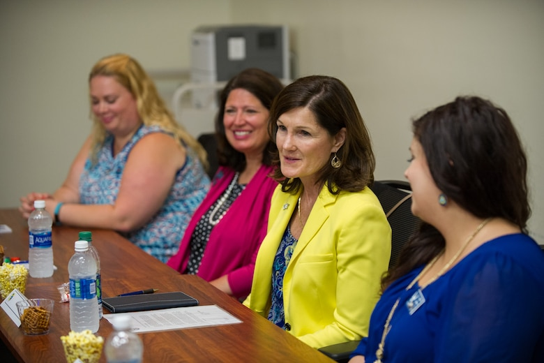Betty, second from right, wife of Air Force Chief of Staff Gen. Mark A. Welsh III, addresses concerns during a roundtable event with key spouses and key spouse mentors May 9, 2016, at the Airman and Family Readiness Center on Patrick Air Force Base, Fla. The interactive discussion focused on the importance of balancing work and family life considering the unique challenges military couples and families face during their time in service. (U.S. Air Force photo/Benjamin Thacker)