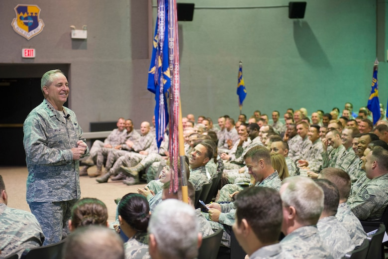 Air Force Chief of Staff Gen. Mark A. Welsh III speaks during an all call at the base theater on Patrick Air Force Base, Fla., May 9, 2016. Following the all call, the general and his wife, Betty, spent the day meeting with 45th Space Wing personnel, mission partners and their families, addressed their concerns and provided them with an Air Force-level perspective. (U.S. Air Force photo/Matthew Jurgens)