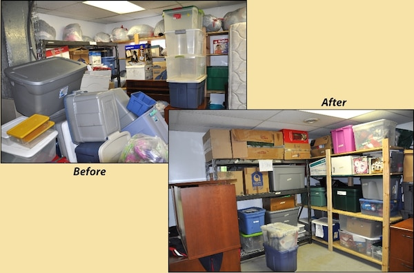 Before and after photos of the storage shed cleaned and organized by DLA Disposal Policy and Compliance employees for their team-building exercise/community project May 10.