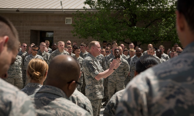 Chief Master Sgt. of the Air Force James Cody speaks with members of the 726th Air Control Squadron, May 5, 2016, at Mountain Home Air Force Base, Idaho. Cody discussed the operations tempo and ways to advance in rank during visits to various squadrons around the base. (U.S. Air Force photo by Airman 1st Class Chester Mientkiewicz/Released)