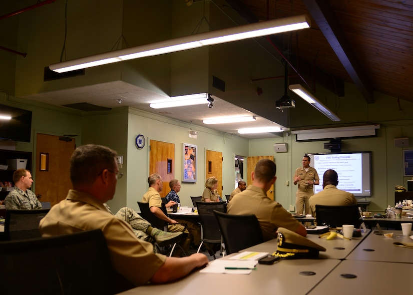 Commander, Navy Installations Command (CNIC) Vice Adm. Dixon Smith visits Joint Base Charleston - Naval Weapons Station, May 10, 2016.  Dixon spoke with JB Charleston leadership about his guiding principles. (U.S. Navy Photo by Mass Communication Specialist 1st Class Sean M. Stafford/Released)