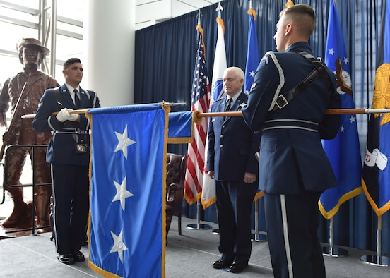 Air Force Lt. Gen. L. Scott Rice is presented with his personal colors during a promotion and assumption of responsibility ceremony hosted by Army Gen. Frank J. Grass, chief of the National Guard Bureau, at the Air National Guard Readiness Center on Joint Base Andrews May 10, 2016. Rice, who previously served as the adjutant general of the Massachusetts National Guard, became the 14th director of the ANG. (U.S. Army National Guard photo by Staff Sgt. Michelle Gonzalez/Released)