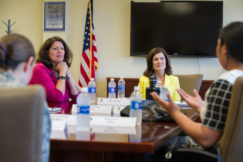 Betty Welsh, wife of Air Force Chief of Staff Gen. Mark A. Welsh III, (second from right), listens to a discussion on the Integrated Prevention Green Dot Program at the 45th Space Wing Headquarters, Patrick Air Force Base, Fla., May 9, 2016. The general and his wife spent a day meeting Airmen and their families and learning about the 45th Space Wing mission and mission partners at Patrick Air Force Base and Cape Canaveral Air Force Station, Fla. (U.S. Air Force photo by Benjamin Thacker/Released)