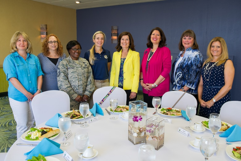 Betty, wife of Air Force Chief of Staff Gen. Mark A. Welsh III, (fourth from right), shares conversation with spouses of senior leaders during lunch at the Tides Club, Patrick Air Force Base, Fla., May 9, 2016. The spouses discussed their role in today's Air Force, serving alongside the commanders they are married to. The general and his wife spent a day meeting Airmen and their families and learning about the 45th Space Wing mission and mission partners at Patrick Air Force Base and Cape Canaveral Air Force Station, Fla. (U.S. Air Force photo by Benjamin Thacker/Released)