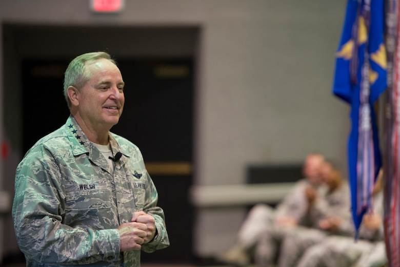 Air Force Chief of Staff Gen. Mark A. Welsh III speaks during an All Call held at the base theater with 45th Space Wing members and mission partners May 9, 2016, at Patrick Air Force Base, Fla. Following the All Call, the general and his wife, Betty, spent the day meeting with 45th Space Wing personnel, mission partners and their families, addressed their concerns and provided them with an Air Force-level perspective. (U.S. Air Force photo by Matthew Jurgens/Released)
