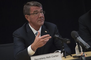 Defense Secretary Ash Carter speaks with reporters during the National Security Telecommunications Advisory Committee meeting at Intel Corporation in Santa Clara, Calif., May 11, 2016. DoD photo by Air Force Senior Master Sgt. Adrian Cadiz