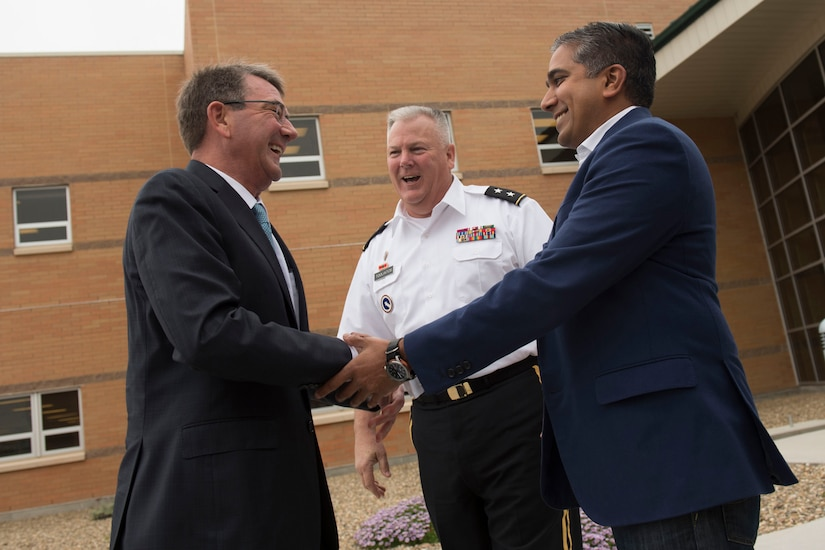 Defense Secretary Ash Carter receives a warm welcome from Raj Shah, the newly appointed managing director of Defense Innovation Unit Experimental, as he arrives in California, May 11, 2016. Carter later spoke with the unit's employees during his trip to California to meet with technology leaders. DoD photo by Air Force Senior Master Sgt. Adrian Cadiz