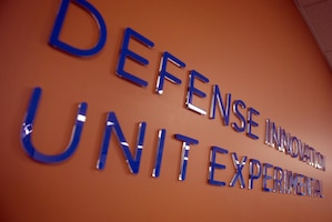 The name of Defense Innovation Unit Experimental, the innovation unit the Defense Department established last year, shows on a wall at its location in Mountain View, Calif., May 11, 2016. DoD photo by Air Force Senior Master Sgt. Adrian Cadiz