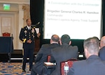 Army Brig. Gen. Charles Hamilton, DLA Troop Support commander, thanks members of the American Apparel and Footwear Association May 10 for helping ensure warfighters have the right clothing and protective equipment. Hamilton address AAFA members during their spring meeting in Philadelphia.