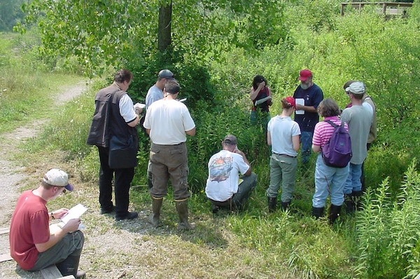 Robert Lichvar, Director of the National Wetland Plant List, treats Buffalo District Regulatory Biologists to plant ID training.