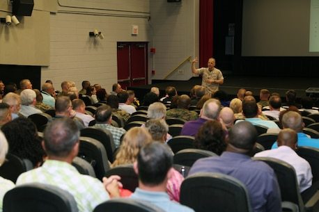 During a recent visit to the Marine Corps Logistics Command, Albany, Lieutenant General (LtGen) Michael G. Dana, Deputy Commandant, Installations and Logistics conducted a Town Hall event on May 11, 2016 for Marine Corps Logistics Command, Deputies, Branch Heads, Officers and Senior SNCOs.  He focused on three specific areas that face Marine Corps Logistics, priorities, theme, and the future operating environment.  He stressed Total Asset Visibility, Enhanced Storage Capability and 21st Century Depot needed to manage the fiscal shortages facing the Marine Corps now and in the future commended LOGCOM's outstanding efforts as the leader in Marine Corps Logistics, emphasizing continual focus on being more efficiency and effectiveness to remain competitive.   LtGen Dana concluded with, in order to meet the challenges ahead, we must encourage our young workforce to think innovatively and embrace an emergent technology.