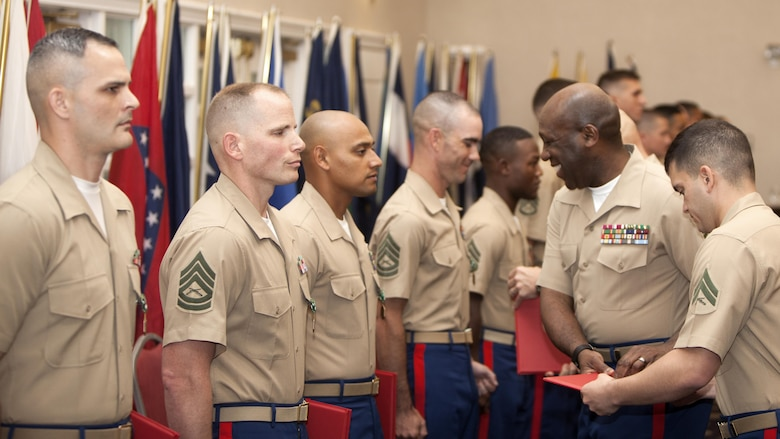 Top preforming Marines from throughout the Corps are awarded the Navy and Marine Corps Commendation Medal at the Commandant of the Marine Corps Combined Awards Ceremony, May 11, 2016 at Marine Corps Base Quantico, Virginia. The ceremony recognized top performing Marine recruiters, drill instructors, combat instructors, career planners, security guards and athletes.